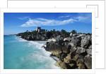 Mexico, Yucatan Peninsula, Carribean Sea at Tulum, the Only Mayan Ruin by Sea by Corbis