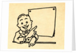 Happy businessman pointing at blank chart by Corbis