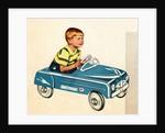 Boy sitting in toy car by Corbis