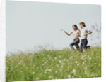 Young teen couple boy girl running field wildflowers by Corbis