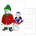 A well rugged up snowman with a child on his sled by Corbis