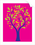 A fruit tree with birds in it on a pink background by Corbis