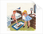Boy and girl getting ready for school by Corbis