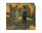 Three Tahitian Women Against a Yellow Background by Paul Gauguin