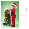 Young boy wrapping Christmas lights around a dog by Corbis