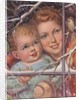 Mother and child looking at bird through window by Corbis