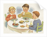 Children eating meal by Corbis