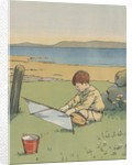 Illustration of boy with toy boat by Corbis