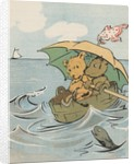Illustration of two bears in makeshift boat by Corbis