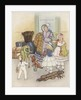 Illustration of family in waiting room with luggage by Corbis