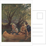 Illustration of three boys in canoe by Corbis