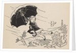 Illustration of girl with umbrella blown away by gust of wind by Corbis