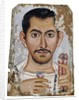 Fayum portrait of a man holding a small glass vessel and garland by Corbis
