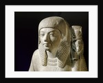 Ancient Egyptian green breccia statuette of a priest by Corbis