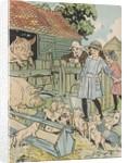 Children feeding pigs on farm by Corbis