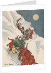 Gnomes pulling Christmas tree up snowy mountain by Corbis