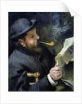 Claude Monet Reading a Newspaper by Pierre-Auguste Renoir