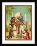 Czech English cotton label with caravan traders by Corbis