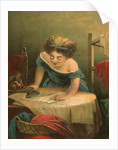 Victorian print of girl ironing by Corbis