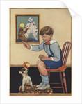 Boy teaching dog trick by Corbis