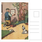 """Man putting up """"Beware of Dog"""" sign by Corbis"""