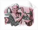 Grandmother on a crank wall telephone by Corbis