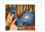 Hand holding blue rotary telephone receiver by Corbis