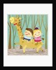 The image of children riding on the giraffe by Corbis