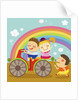 The image of children riding on the red motorcycle by Corbis