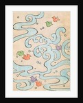 Woodblock print of stylized birds flying over water by Corbis