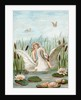 Fairy riding a white swan in a marsh by Corbis