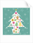 Christmas with tree and decorations with green background by Corbis