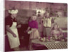 1950s 2 couples cooking picnic in rustic kitchen drinking beer by Corbis