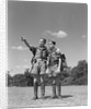 1950s two boy scouts one pointing wearing hiking gear uniforms by Corbis