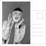 1990s character portrait man gray beard wearing yarmulke hebrew jewish skullcap hands up to face gesture funny expression oy looking at camera by Corbis