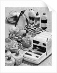 1950s 1960s cold and frozen parfaits dessert ice cream fruit with penguin decoration by Corbis