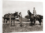 1930s 1940s couple in riding gear man riding horse woman standing by wooden fence by Corbis