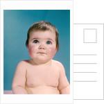 1960s portrait sweet brunette baby blue eyes looking up by Corbis