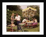 1970s group teenagers boys girls backyard grilling table umbrella by Corbis