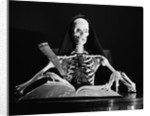 Still life of skeleton writing in large book with quill pen by Corbis