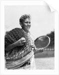 1920s 1930s boy tennis player holding racket net and ball by Corbis