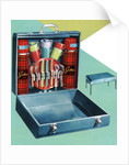 Vintage Illustration of a 1950s Travelling Picnic Case. by Corbis