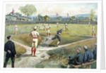 Hand-colored lithograph of an early baseball by Corbis