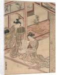 Courtesan and Kamuro in a parlour by Kitao Shigemasa
