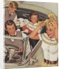 1950s family with convertible by Corbis