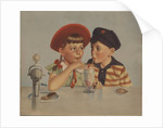 Boy and girl sharing ice cream soda by Corbis