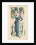 Woman modeling blue dress and feathered hat by Corbis