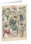 Five women modeling blouses by Corbis