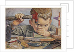 Determined looking boy hammering nail by Corbis