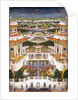 Indian miniature painting of a lavish palace complex by Corbis